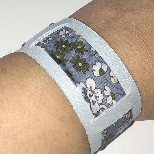 Bracelet cuir véritable bleu et biais liberty fleuri