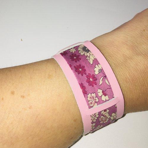 Bracelet cuir véritable rose et biais liberty fleuri