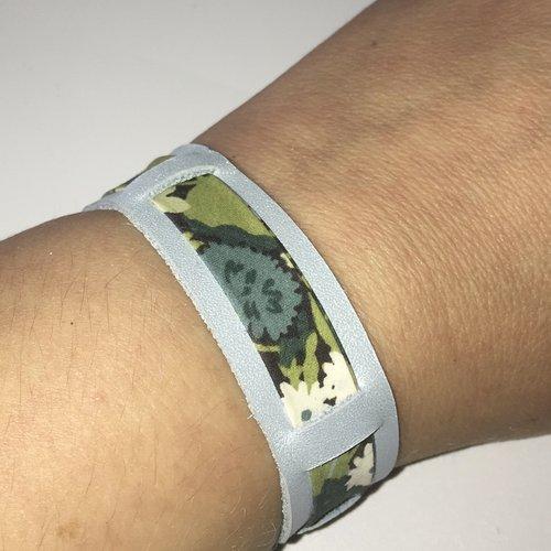 Bracelet cuir véritable bleu irisé et biais liberty fleuri kaki