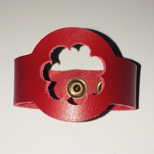 Bracelet enfant cuir véritable motif fleur