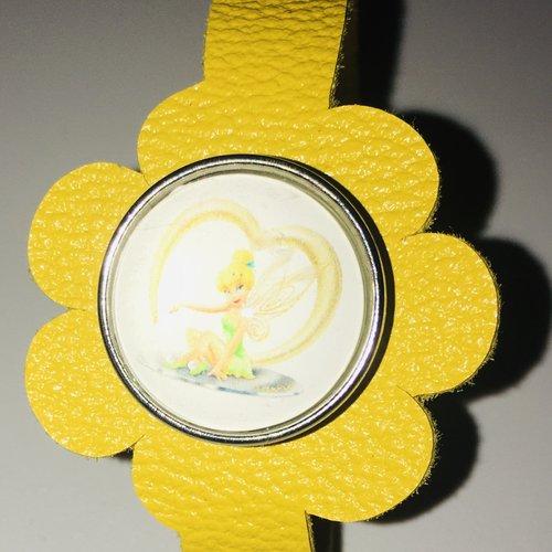 Bracelet enfant en cuir véritable et bouton pression de 20mm