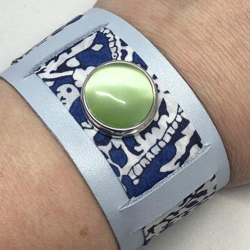 Manchette cuir véritable et liberty bleu pour bouton pression 18mm