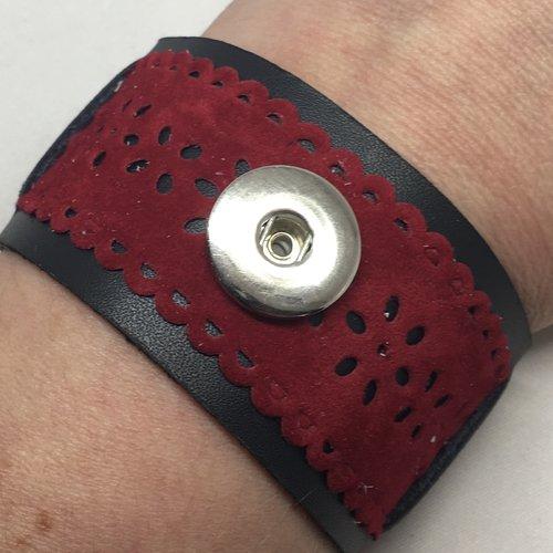 Manchette cuir véritable et biais ciselé pour bouton pression 18mm