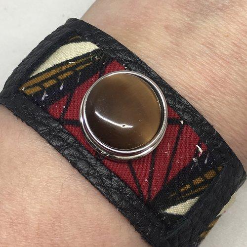 Manchette cuir véritable et wax pour bouton pression 18mm