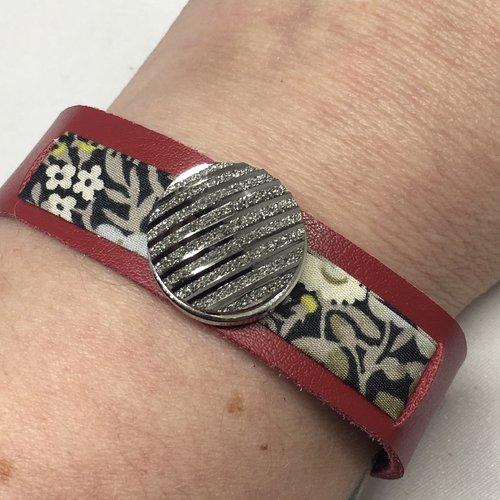 Bracelet cuir véritable et liberty pour bouton pression 18mm