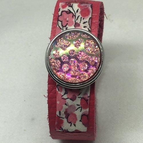Bracelet enfant cuir véritable et liberty pour bouton pression 18mm