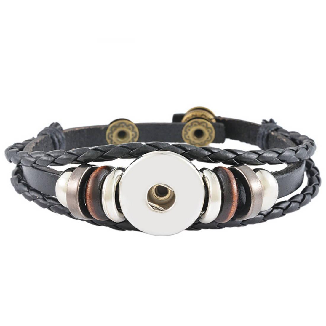 x 1 bracelet Multilayer Cuir PU noir pour bouton pression réglable métal argenté 23 cm