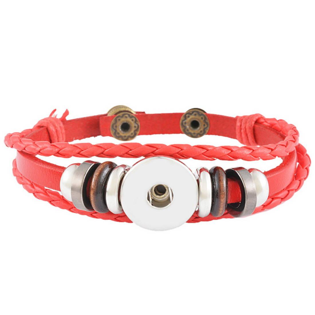 x 1 bracelet Multilayer Cuir PU rouge pour bouton pression réglable métal argenté 23 cm