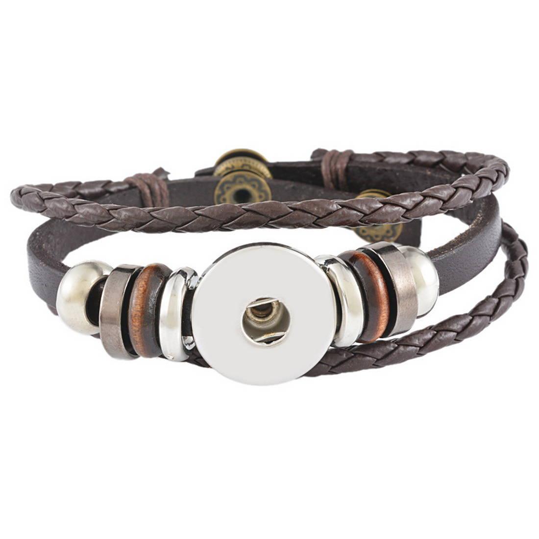 x 1 bracelet Multilayer Cuir PU marron pour bouton pression réglable métal argenté 23 cm