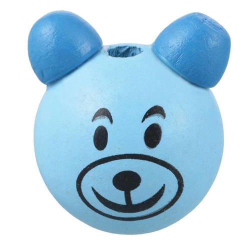 X 1 grosse perle en bois 3d ours ton bleu 2,9 x 2,5 cm