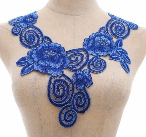 x 1 col applique dentelle guipure-dentelle fine floral bleu 32 x 35 cm P8
