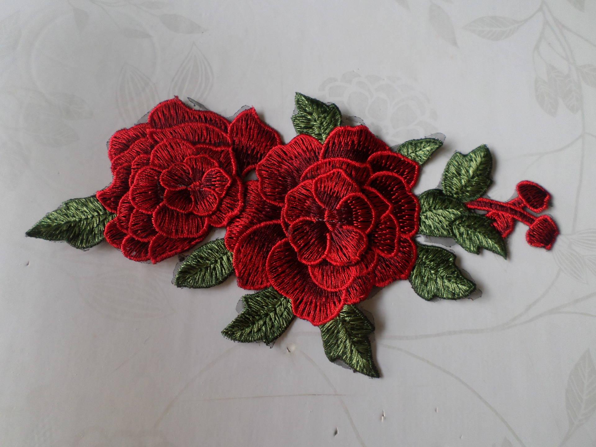 x 1 applique dentelle guipure-dentelle fine floral 3D T5