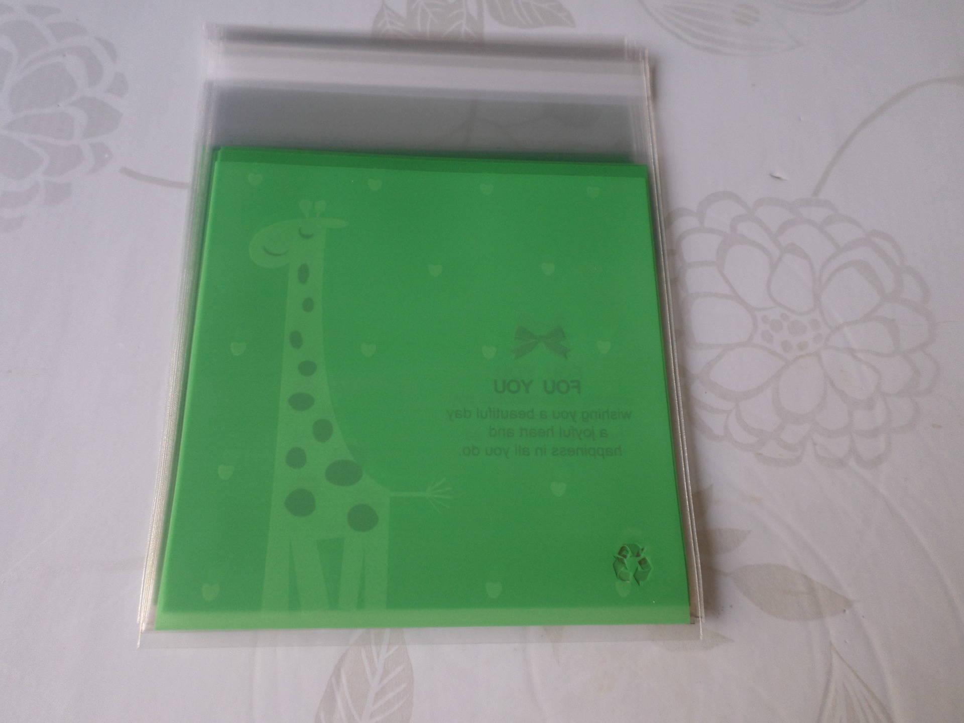 x 10 sachets/pochette adhésif vert motif girafe pour bonbon/gâteau en plastique 13 x 10 cm