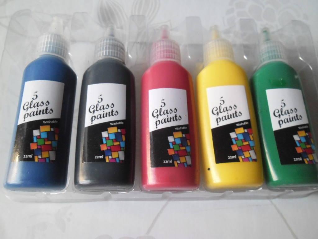 x 5 mixte flacons de peinture spécial verre