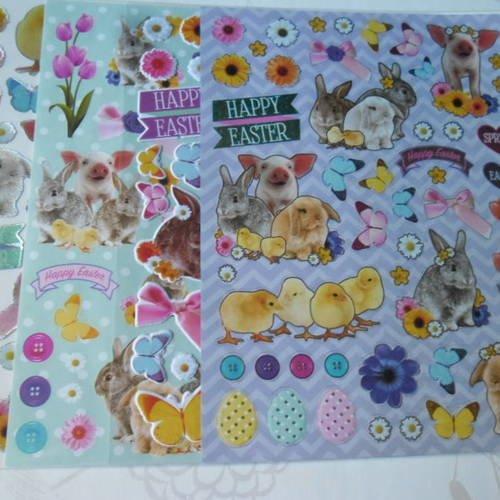 X 4 mixte planches de stickers autocollants sur le thème de pâques n°2