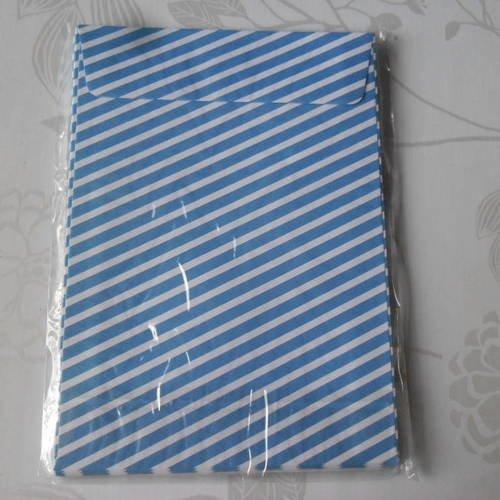 X 10 enveloppes rectangle à motif rayure bleu/blanche 16 x 11,5 cm