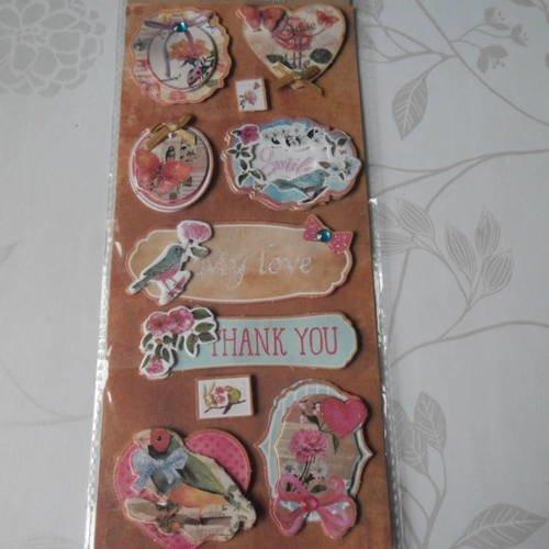 X 1 planche de stickers 3d adhésif pailleté pour scrapbooking