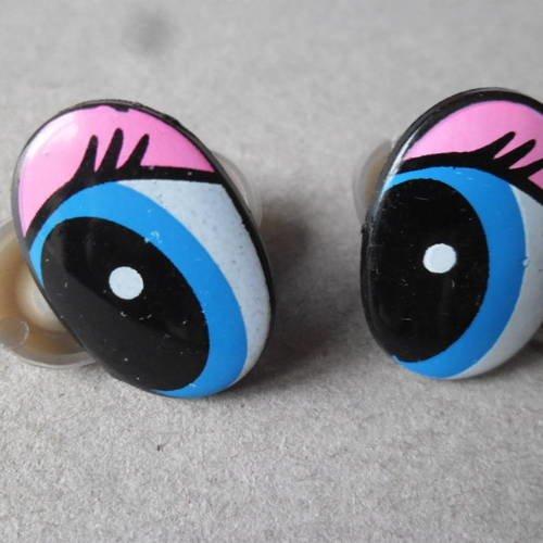 X 2 paires d'yeux  oeil de sécurité plastique ovale bleu/rose/noir+2 embouts 25 x 16 mm