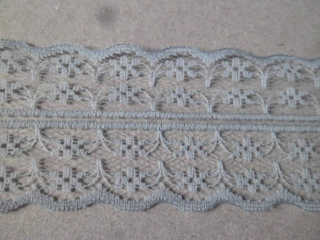 x 1 mètre de ruban guipure dentelle motif fleur gris 4 cm