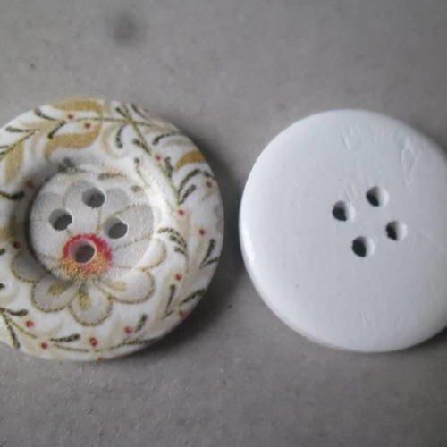 6 blanc avec bleu marine fleurs tissu boutons recouverts 20 mm
