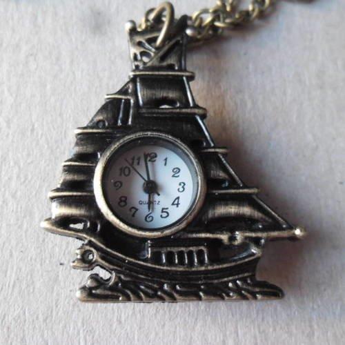 X 1 cadran de montre quartz vintage motif bateau+chaine couleur bronze (pile fournie)