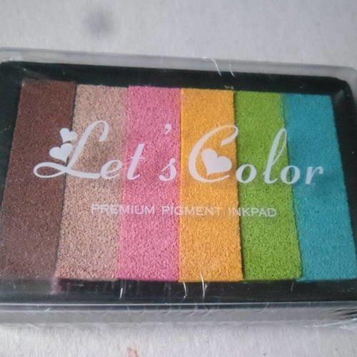 X 1 boite encreur encre 6 mixte couleurs 9,5 x 6,3 cm