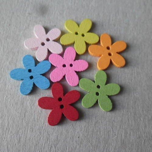 X 50 mixte boutons en bois motif fleur multicolore 2 trous 14 x 15 mm