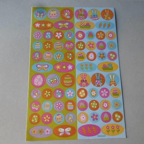 X 70 mixte stickers autocollants multicolore sur le thème de pâques n°8