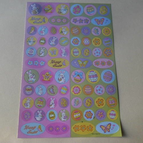 X 72 mixte stickers autocollants multicolore sur le thème de pâques n°2