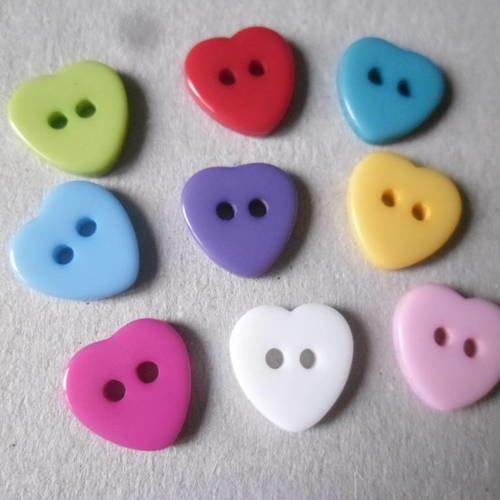 10 x blanc en forme de cœur boutons taille 18 mm ~ fashion//Craft
