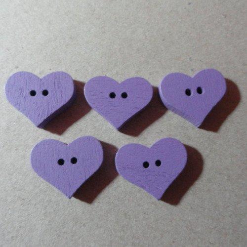Lot 5 boutons coeurs bois mauve + 2 offerts