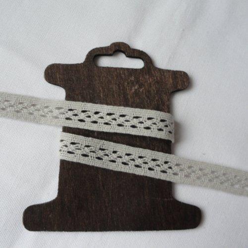 Dentelle coton gris 15 mm