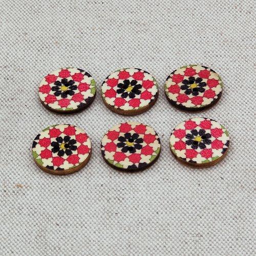 lot 6 boutons en bois fantaisie vintage