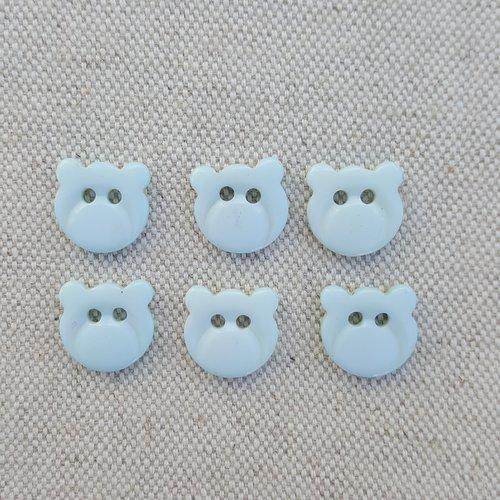 Lot 6 boutons tête de chat bleu ciel 13 mm