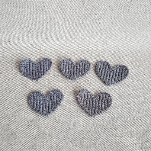 Lot 5 coeurs en tricot gris