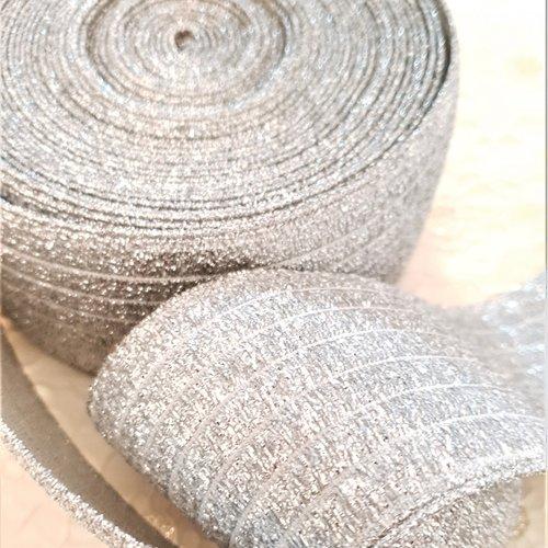 Elastique ceinture argent lurex 60 mm