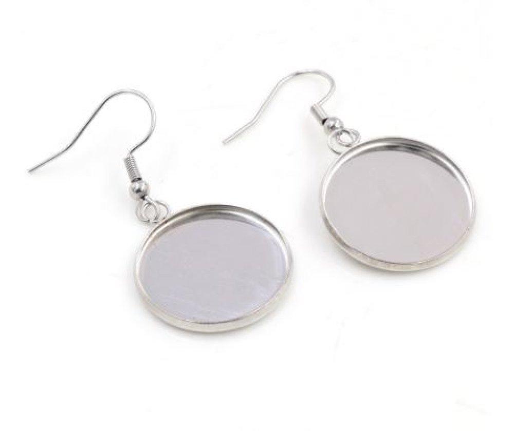 ★ 10 boucles d/'oreille dormeuses avec support cabochon 25 mm en métal argenté ★