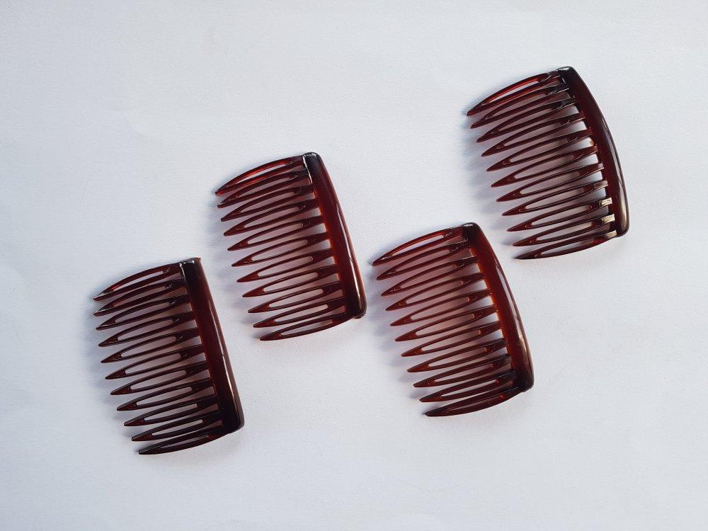4 Peignes à cheveux, Accessoire Peigne mariage, coloris marron foncé.