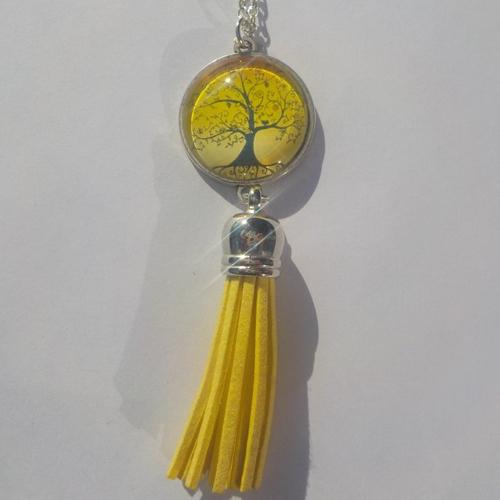Collier, pendentif, sautoir image d'arbre de vie, jaune, noir