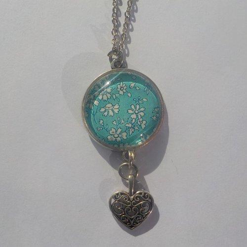 Collier, pendentif, sautoir image de liberty, turquoise, breloque coeur,