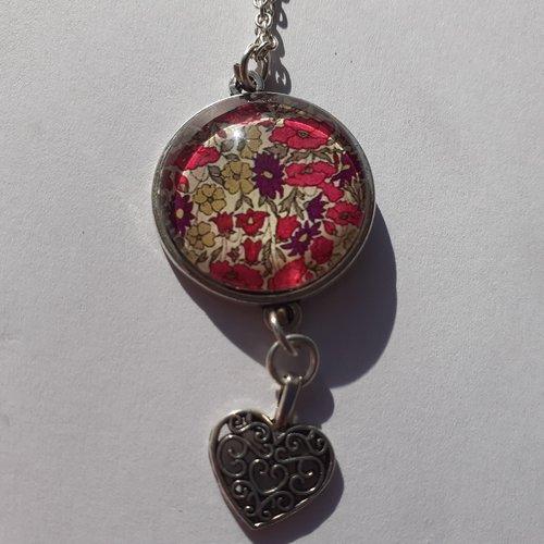 Collier, pendentif, sautoir image de liberty rose, prune, vert, breloque coeur, argenté,