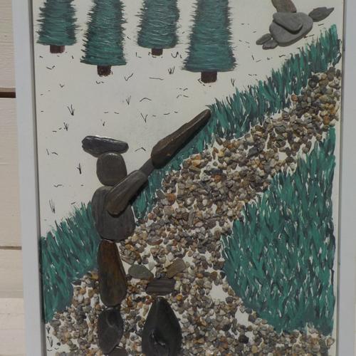 Tableau galet de chasseur et son chien, naturel, art, chasse, création artisanale,