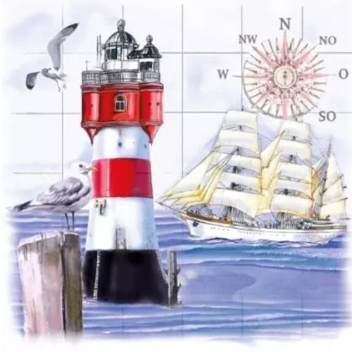 1 serviette en papier mer - phare - ref 1778