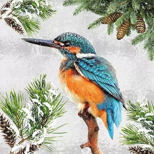 1 serviette en papier oiseaux - martin pecheur - ref 2031