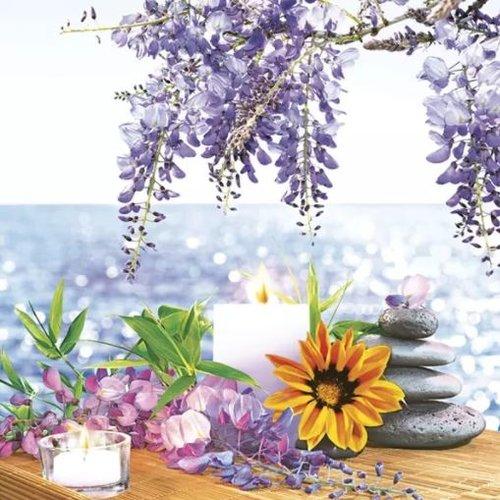 1 serviette en papier paysage mer - fleurs - ref 2064