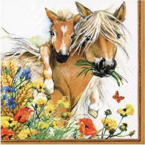 1 serviette en papier chevaux dans les champs - ref 2073