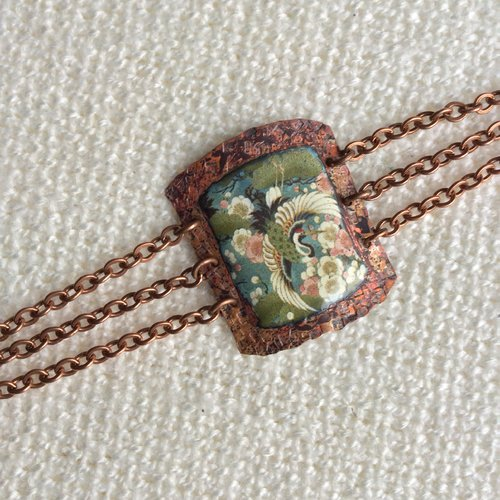 Bracelet motif japon en cuivre émaillé. pièce unique