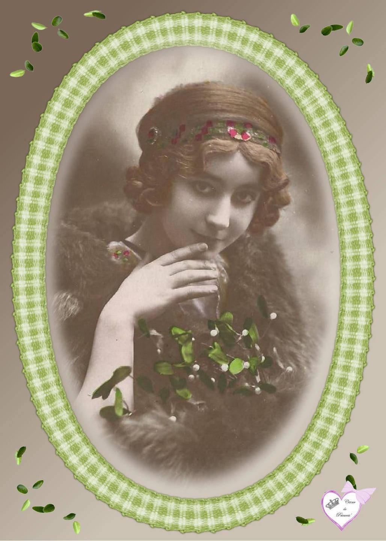 """Appliqué en serge coton """"femme dans cadre vert """""""