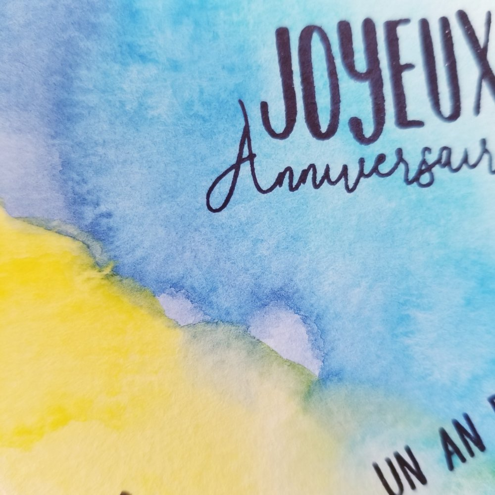 Carte simple joyeux anniversaire  aquarelle