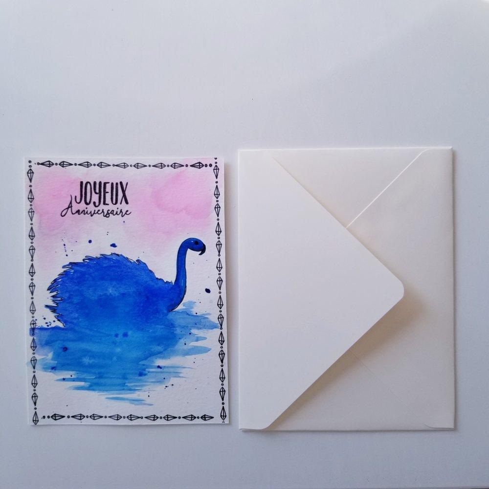 Carte simple joyeux anniversaire  aquarelle